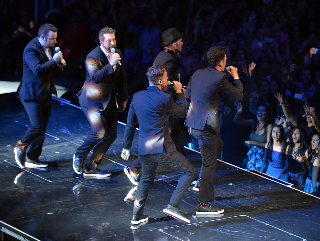 *NSYNC took to the VMA stage in the middle of Justin Timberlake's performance.
