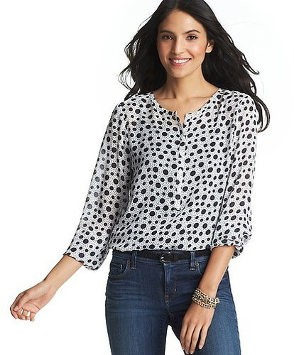 Spotted Dot Print Henley Blouse