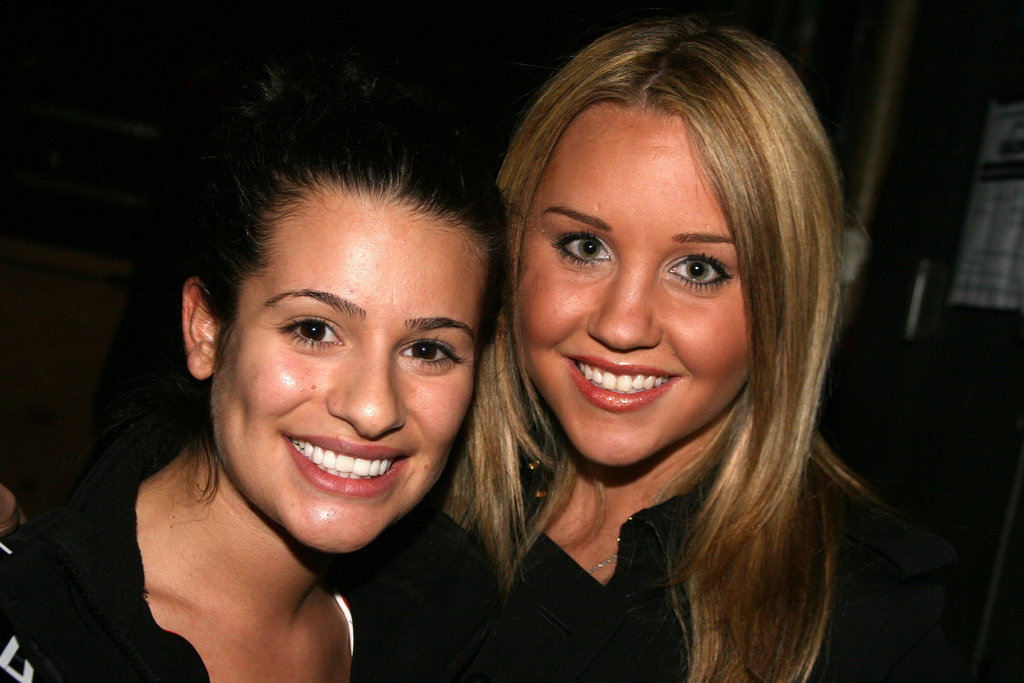 Lea Michele was visited by Amanda Bynes after her performance in Broadway's Spring Awakening in April 2007.