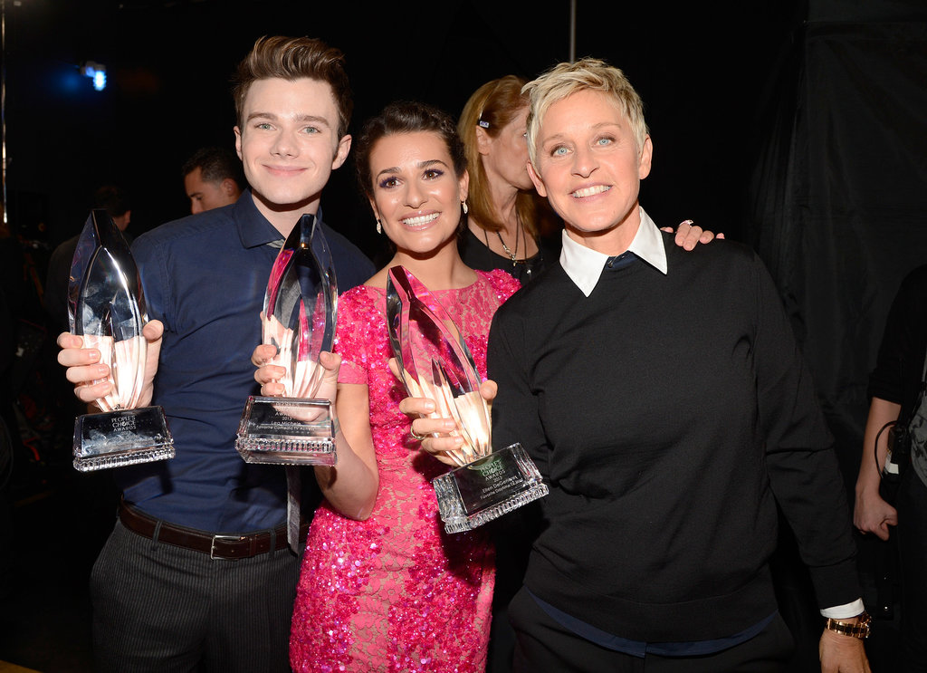 Lea Michele celebrated her People's Choice Award win with Ellen DeGeneres and Chris Colfer in January 2013.