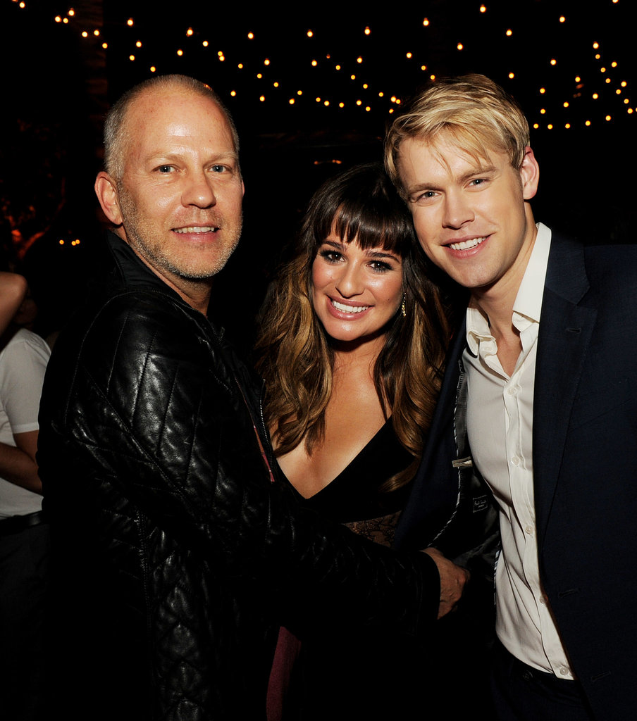 Lea Michele was flanked by Glee castmate Chord Overstreet and producer Ryan Murphy at the show's season four after party in LA in September 2012.