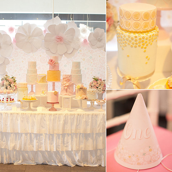 A Pretty in Pink and Gold First Birthday Party With Cakes Galore