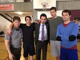 The cast posed with special guests Kris Humphries and Bill Hader. Source: Twitter user ikebarinholtz