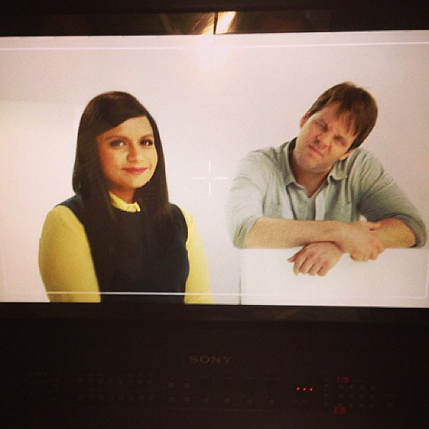 Barinholtz pulled funny faces during a promo shoot with Kaling.  Source: Instagram user mindykaling