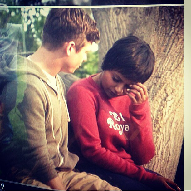 Mindy had an emotional moment with Casey in a tree. Source: Instagram user mindykaling
