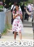 Katie Holmes wore a retro floral dress.