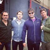 Barinholtz and Holm reported to work early with some of the crew. Source: Instagram user mindykaling