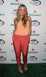 Molly Sims wore colorblock separates for the US Open kickoff event.