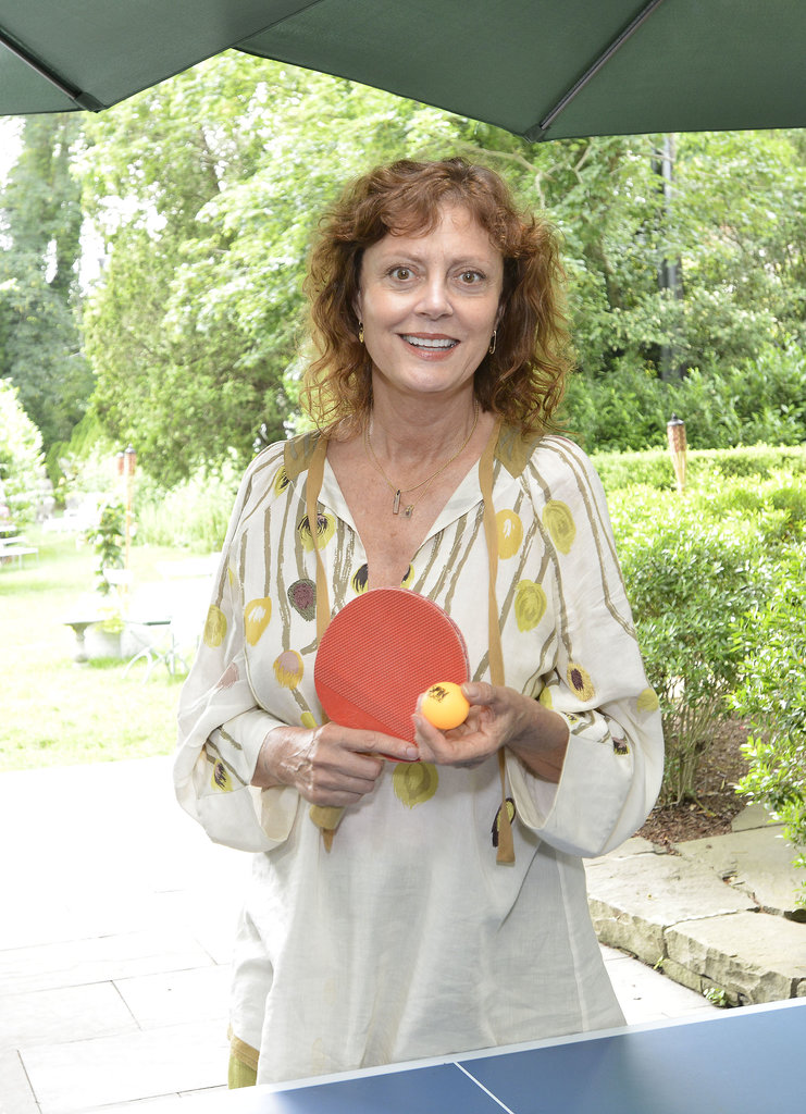 Susan Sarandon showed off her ping pong skills at a Spin party in East Hampton in June.
