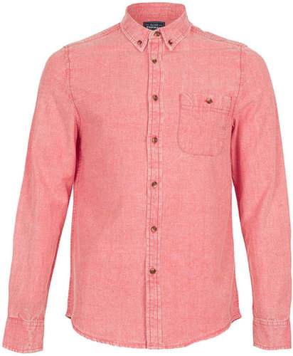 Bright Red Acid Wash Oxford Long Sleeve Shirt