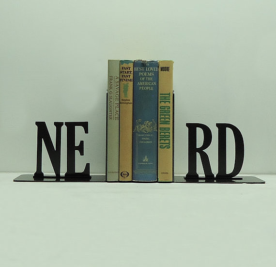 Cut from steel and finished in jet black, the Nerd Bookends ($63) share what we already know to be true bookworms (book nerds) rule!