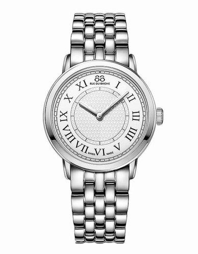 88 RUE DU RHONE Ladies' Silver Stainless Steel Quartz Watch with Crystals