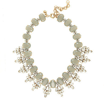 Crystal leaves statement necklace