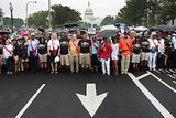 People gathered in Washington DC for the 50th anniversary of the March on Washington For Jobs and Freedom.