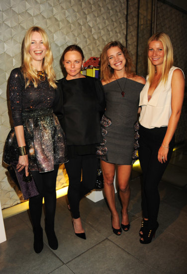 The fashionable friends mingled with two other beauties, Claudia Schiffer and Natalia Vodianova, at Fashion's Night Out in NYC in September 2010.