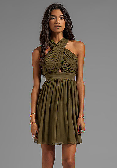 We're loving the rich autumnal hue and subtle cutout on this Alice + Olivia Caldwell wrap bodice tulip dress ($440).