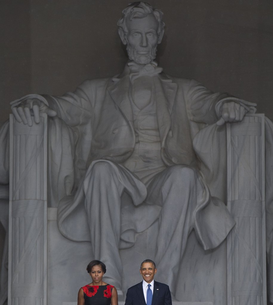 President Obama and First Lady Michelle arrived at the Lincoln Memorial for the anniversary event.