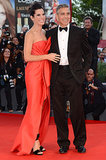 Sandra Bullock and George Clooney made a glamorous pair on the red carpet at the opening ceremonies of the Venice Film Festval.