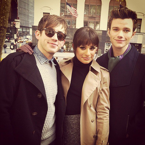 Lea Michele and Chris Colfer were visited by Kevin McHale while shooting Glee on location in NYC. Source: Instagram user msleamichele