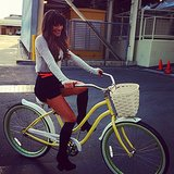Lea Michele rode a bike around the Glee set. Source: Instagram user msleamichele
