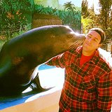 Adam Sandler got a sweet smooch from a seal. Source: Instagram user adamsandler