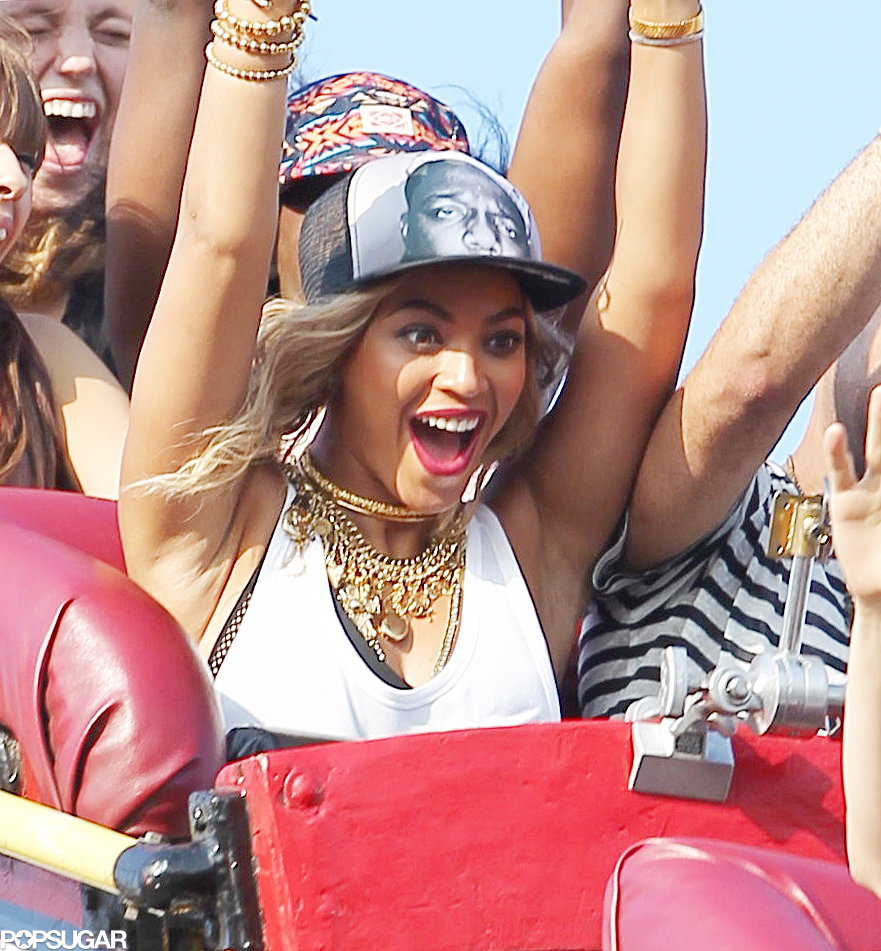 Beyonce spent the first part of her Coney Island day having fun.