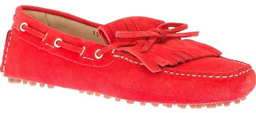 Car Shoe fringed lace-up loafer