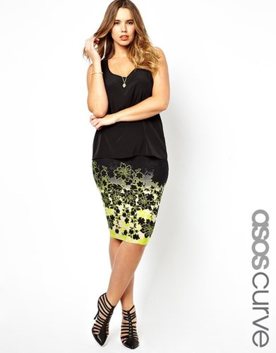 ASOS CURVE Pencil Skirt In Neon Ombre