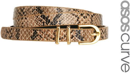 ASOS CURVE Metal Keeper Super Skinny Waist Belt In Snake Print