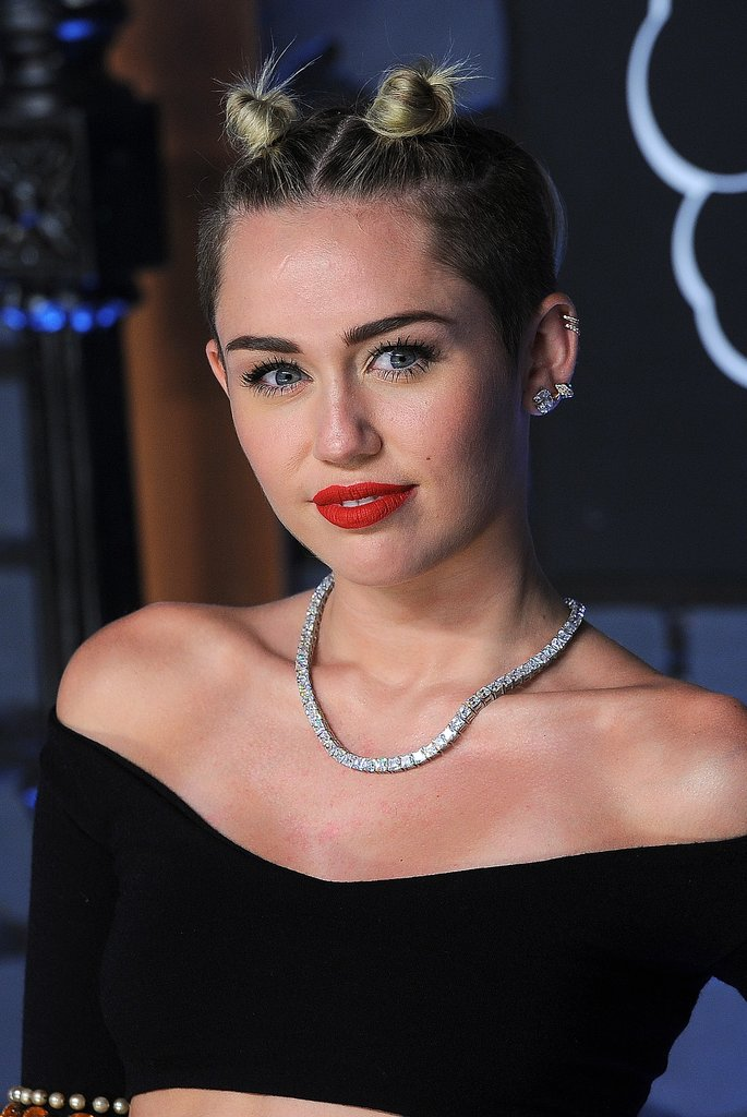 With her hair a little grown out, Miley was spotted sporting double topknots at the 2013 MTV VMAs. Incidentally, the style is quite conducive to twerking because you don't have to worry about getting hair in your face!