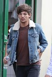 Louis Tomlinson wore a denim jacket on the set of the new One Direction music video.