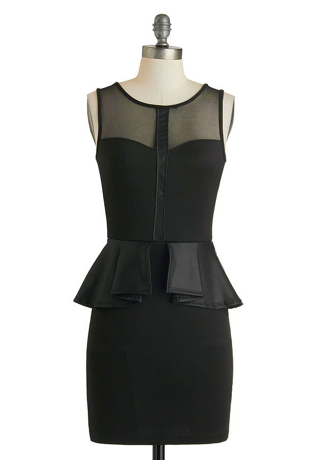 A body-con dress ($50) gets some extra polish thanks to a faux-leather peplum flounce.