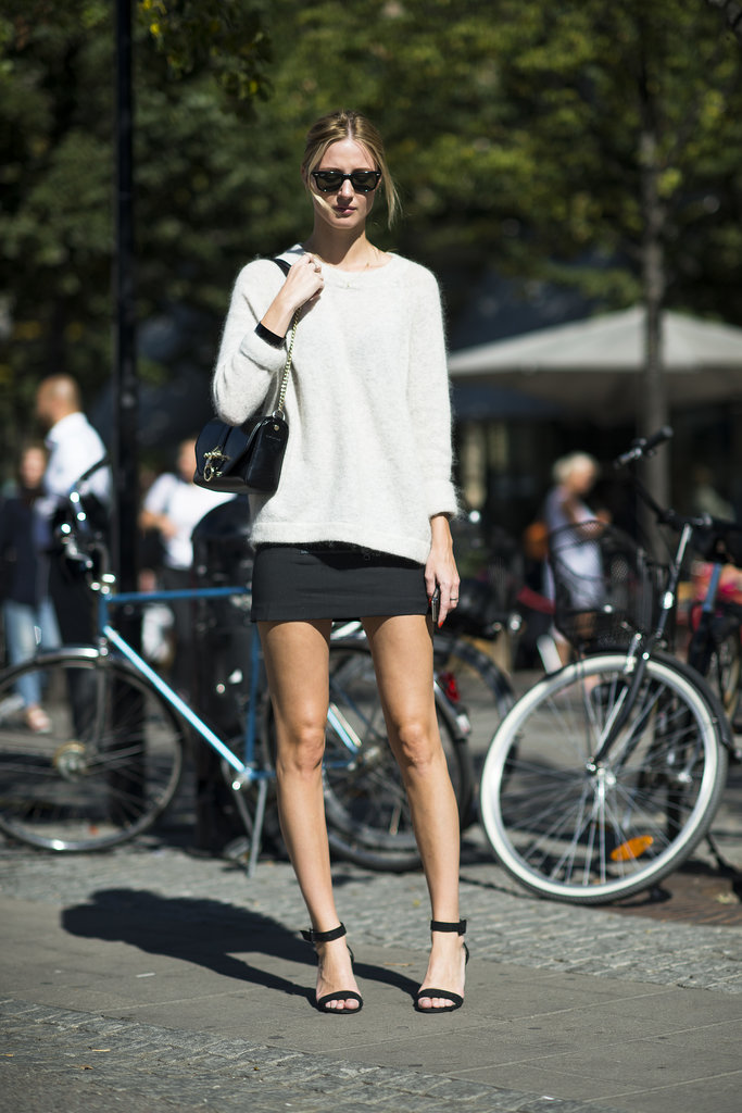 Give a sexy miniskirt a tomboy twist with a slouchy knit. Source: Le 21ème | Adam Katz Sinding