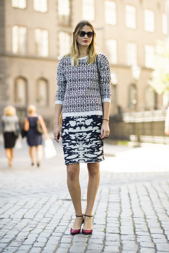 Know this: mixed prints aren't going anywhere, so keep it up — and by all means, mix it up right down to your toes.  Source: Le 21ème | Adam Katz Sinding
