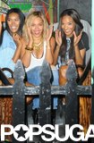 Beyoncé Knowles hung out with pals while shooting her music video.