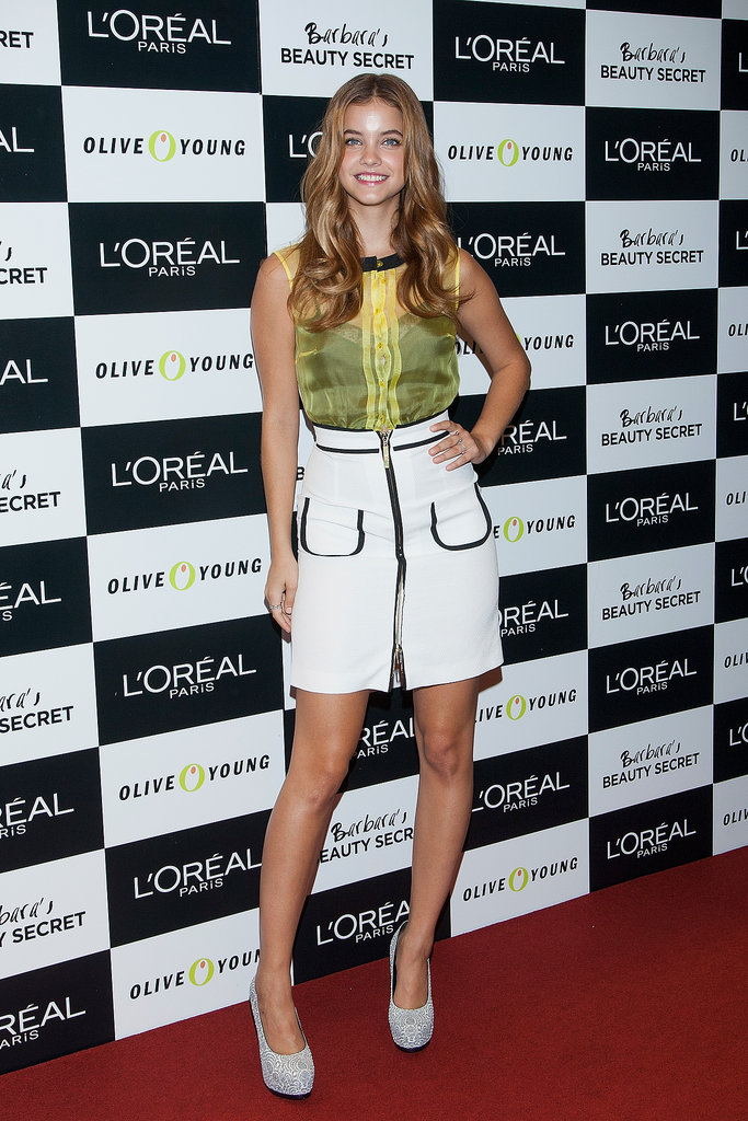 Barbara Palvin worked her gams in suede platforms and a piped pencil skirt while at a L'Oréal event in Seoul.