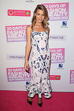 Georgia May Jagger attended an Australian event in a long printed dress in a fresh mix of navy, ballet slipper pink, and white.