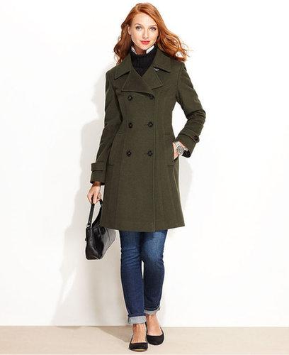 Anne Klein Coat, Double-Breasted Cashmere-Blend Walker