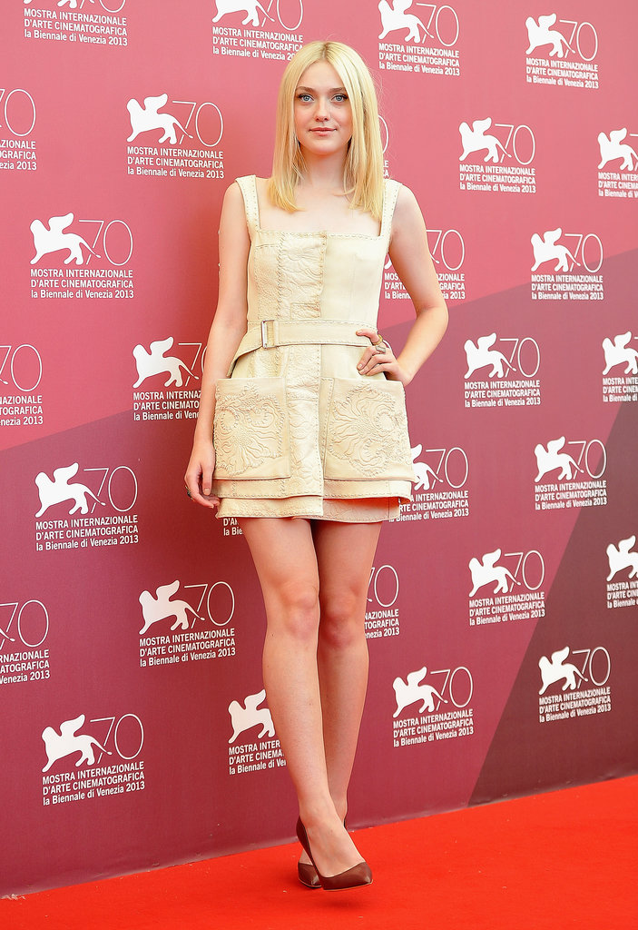 Dakota wore a cream-colored dress at the photocall for Night Moves earlier in the day.