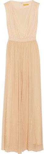 Alice + Olivia Leather-trimmed silk-chiffon maxi dress