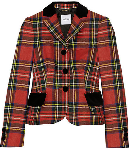 Moschino Embroidered velvet-trimmed tartan wool blazer