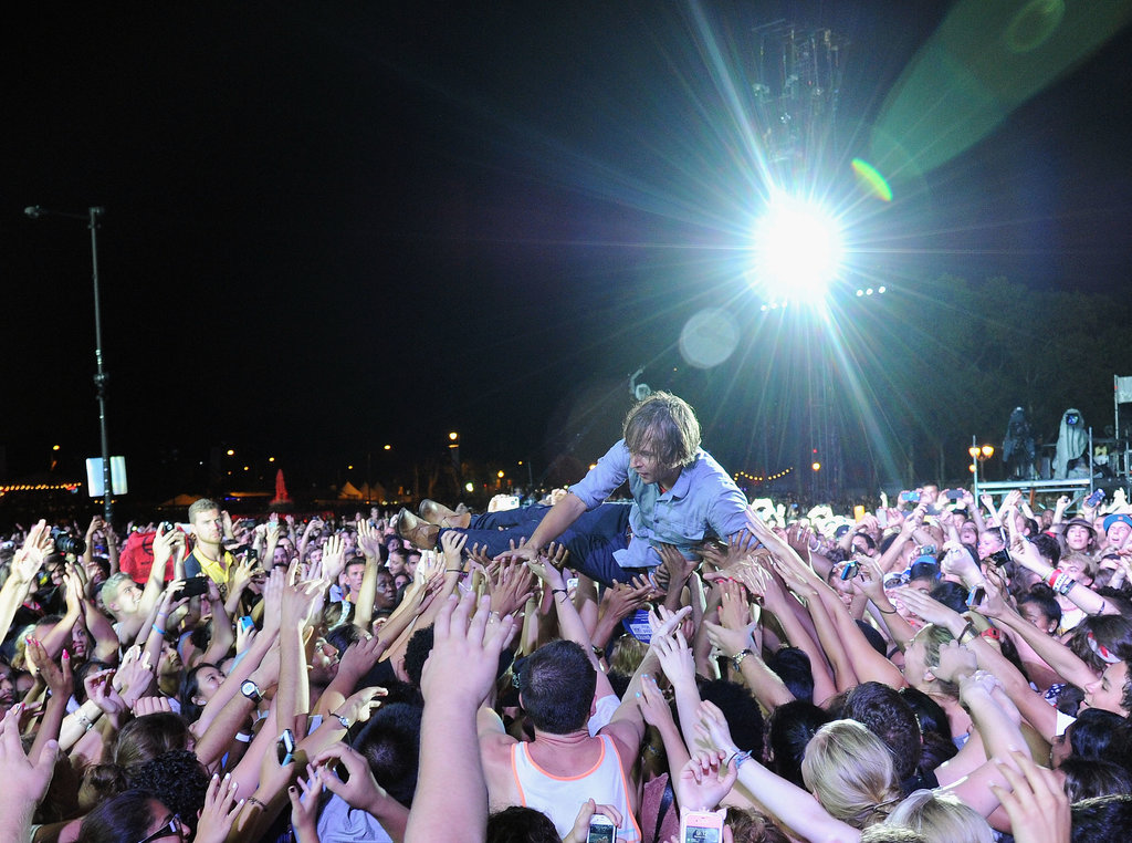 Thomas Mars of Phoenix dove into the crowd during the band's performance.