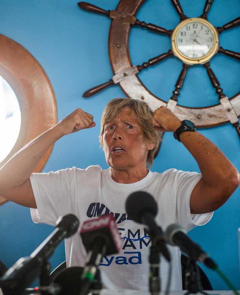 Diana Nyad spoke with the press in Havana before her swim.
