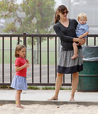 Jennifer Garner held little Samuel while little Seraphina stood by.