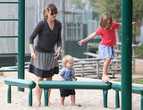 Samuel and Seraphina Affleck played in the park while Jennifer watched.