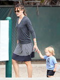 Jennifer Garner held Samuel's hand at the park.