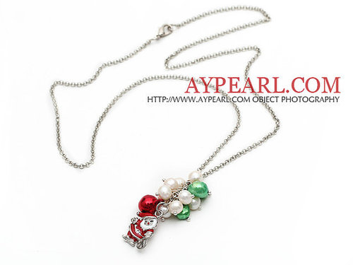 2013 Christmas Design White Freshwater Pearl and Green Pearl and Red Bell and Santa Claus Pendant Necklace with Metal Chain