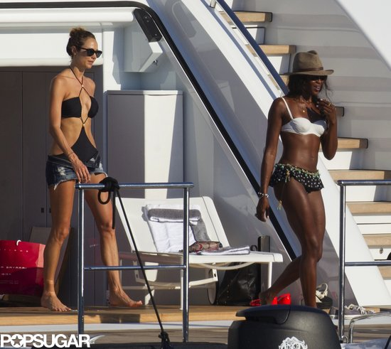 Stacy Keibler rocked a black one-piece cutout swimsuit, while Naomi Campbell was girlie in her mismatched two-piece on a yacht in Ibiza.