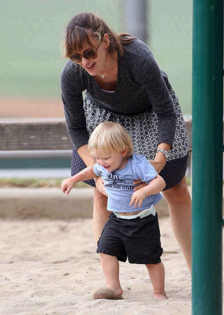 Jennifer Garner accompanied her son Samuel on the playground at a park in LA on Monday.