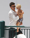 Robin Thicke ventured out to the hotel pool in Miami with his son, Julian, on Sunday.